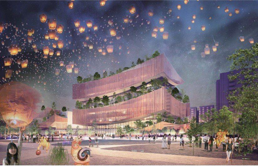 桃園市立新圖書總館設計示意圖。圖/桃園市政府