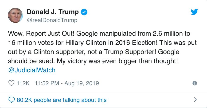 美國總統川普19日推文說,搜尋引擎公司谷歌在2016年大選時操縱選票,影響260...