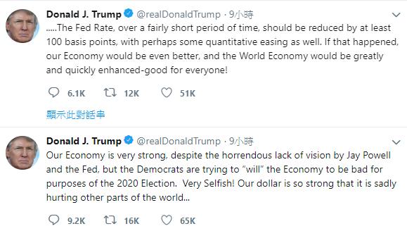 美國總統川普再度砲轟Fed,希望Fed至少降息1個百分點。 擷自川普推特