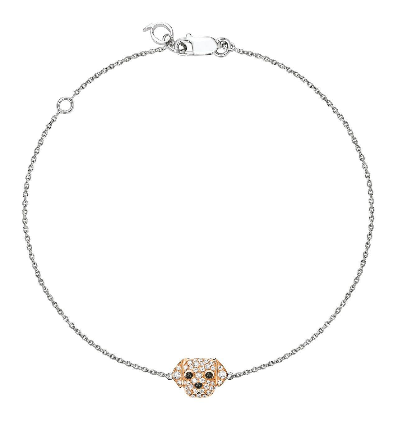Qeelin Wang Wang黃金獵犬造型18K玫瑰金與鑽石手鍊,71,800...