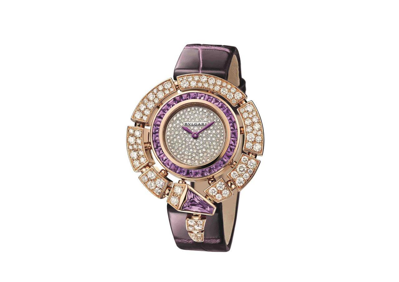 寶格麗Serpenti Incantati玫瑰金鑽石與紫水晶腕表,18K玫瑰金表...