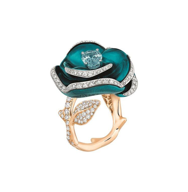 Rose Dior Pop系列帕拉伊巴藍碧璽鑽石玫瑰戒指,約175萬元。圖/Di...