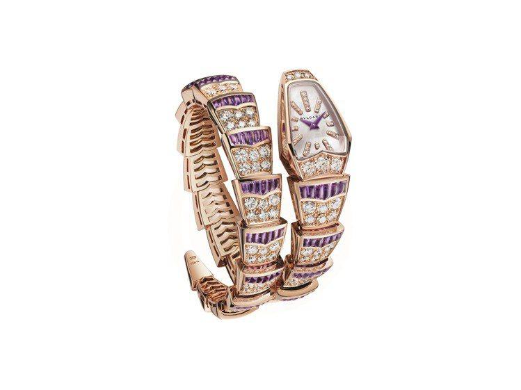 寶格麗Serpenti Scaglie紫水晶與鑽石珠寶腕表,18K玫瑰金表殼,鑲...