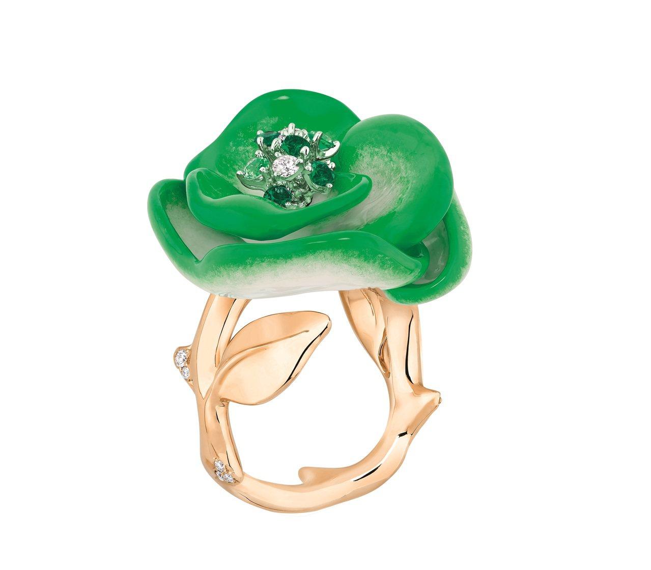 Rose Dior Pop系列祖母綠沙弗萊石玫瑰戒指,約90萬元。圖/Dior提...