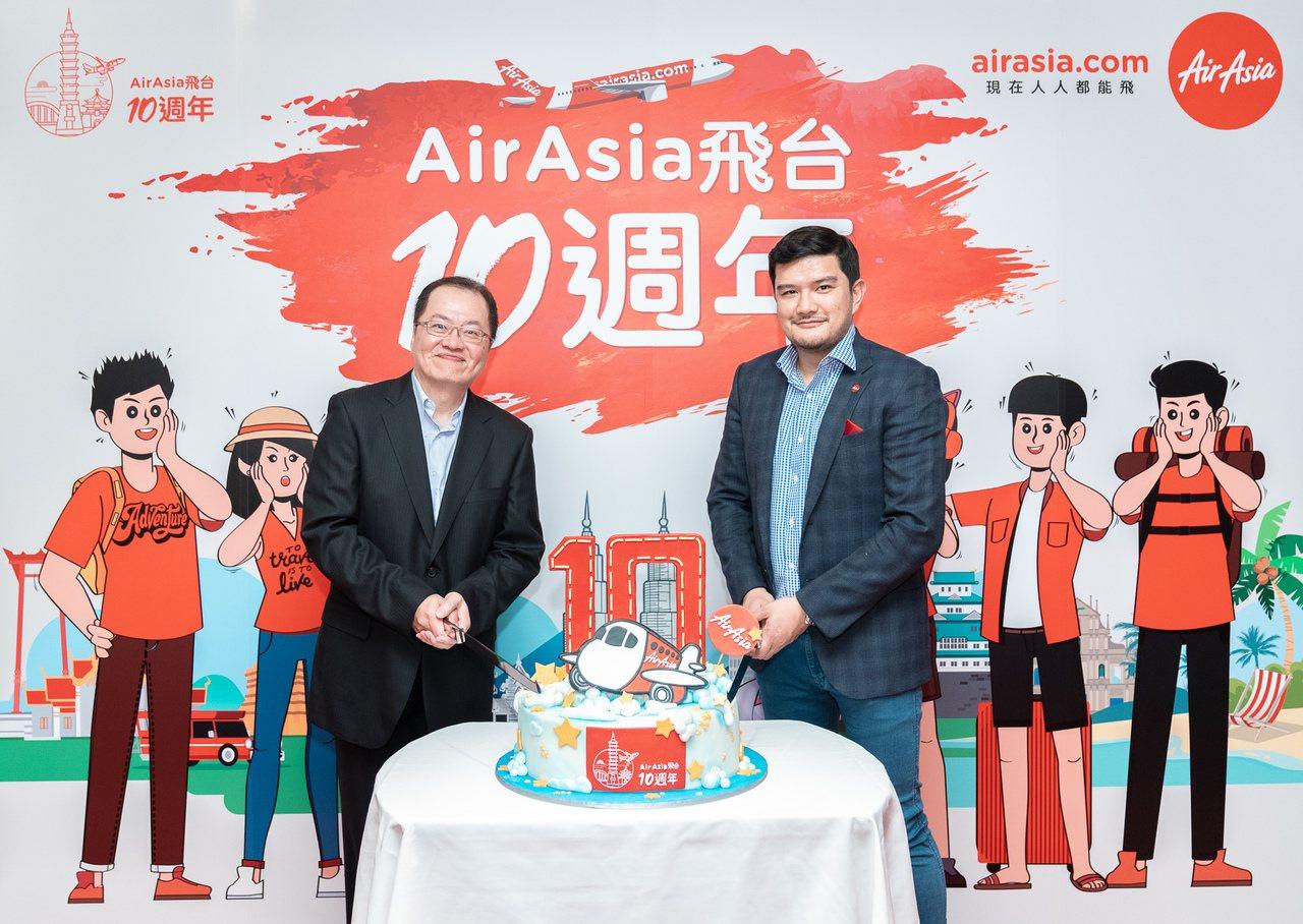 AirAsia爲慶祝「台北-吉隆坡」開航10周年,推出台北高雄直飛航線單程未稅1...