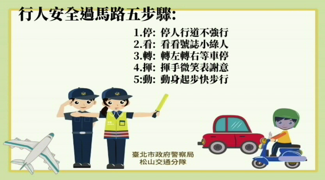 台北松山警分局製作交通小教室影片,呼籲行人遵守交通規則。記者蔡翼謙/翻攝