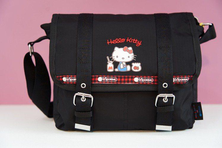 Hello Kitty x LeSportsac聯名系簡約刺繡掀蓋郵差包,5,7...