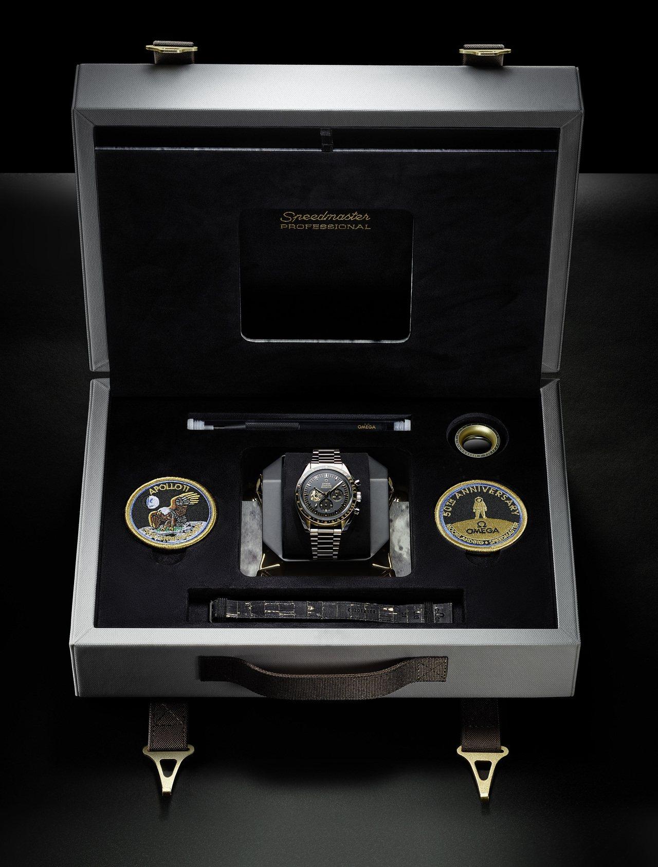 歐米茄超霸阿波羅11號50周年限量版腕表,配備了獨特的表盒,其中還備有兩枚任務臂...