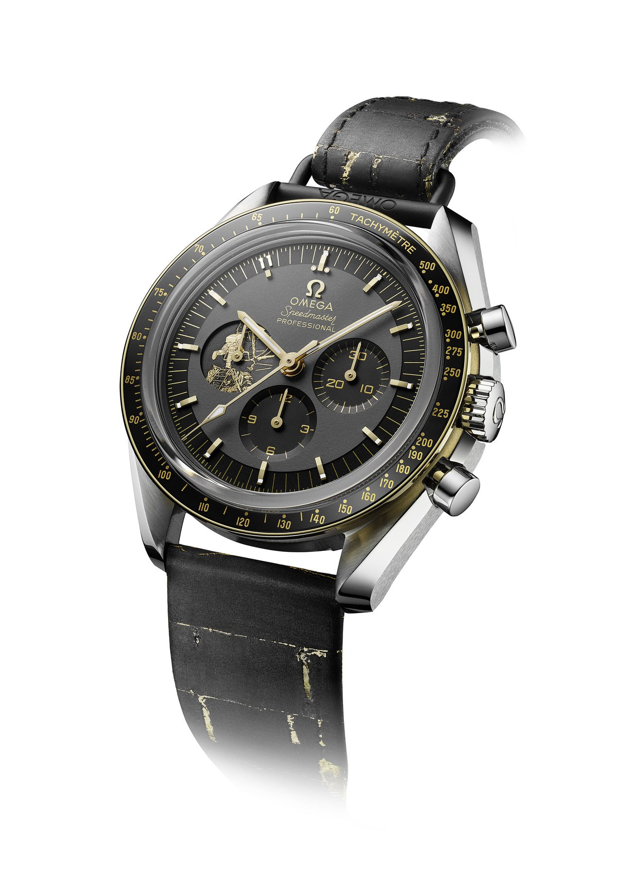 歐米茄超霸阿波羅11號50周年限量版腕表,不鏽鋼表殼搭配黑色陶瓷表圈,限量6,9...