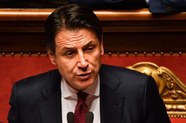 義大利總理孔蒂20日宣布辭職。(法新社)