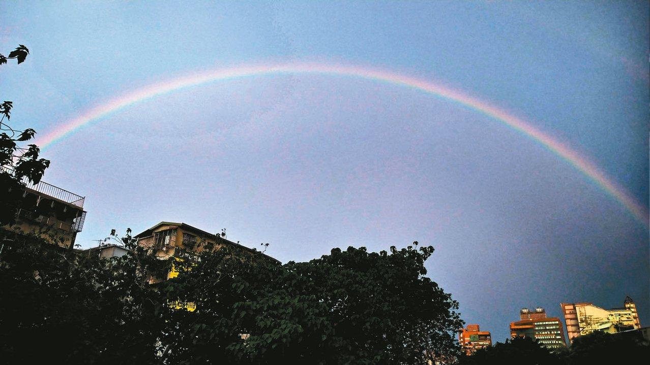 昨天傍晚台北忽然出現彩虹,吸引民眾駐足。 記者杜建重/攝影
