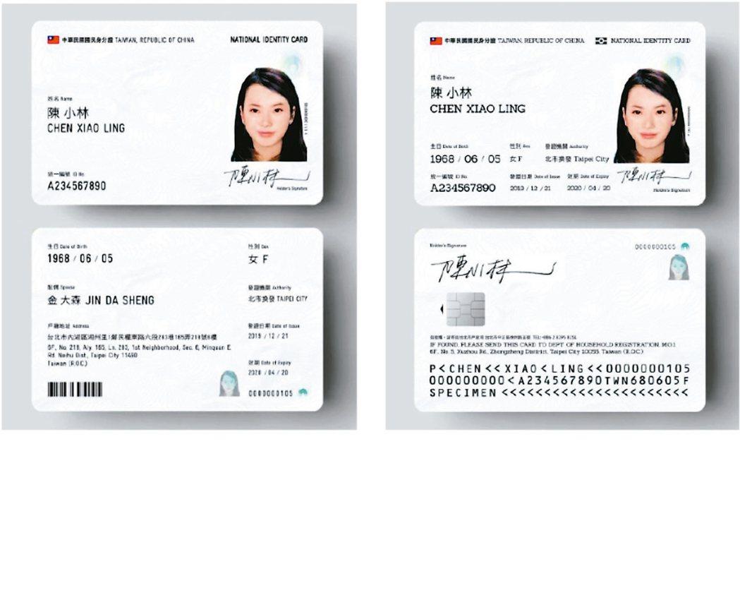 新式數位身分證的樣式將以內政部「身分證明文件再設計徵選活動」設計獎、設計師魯少綸...