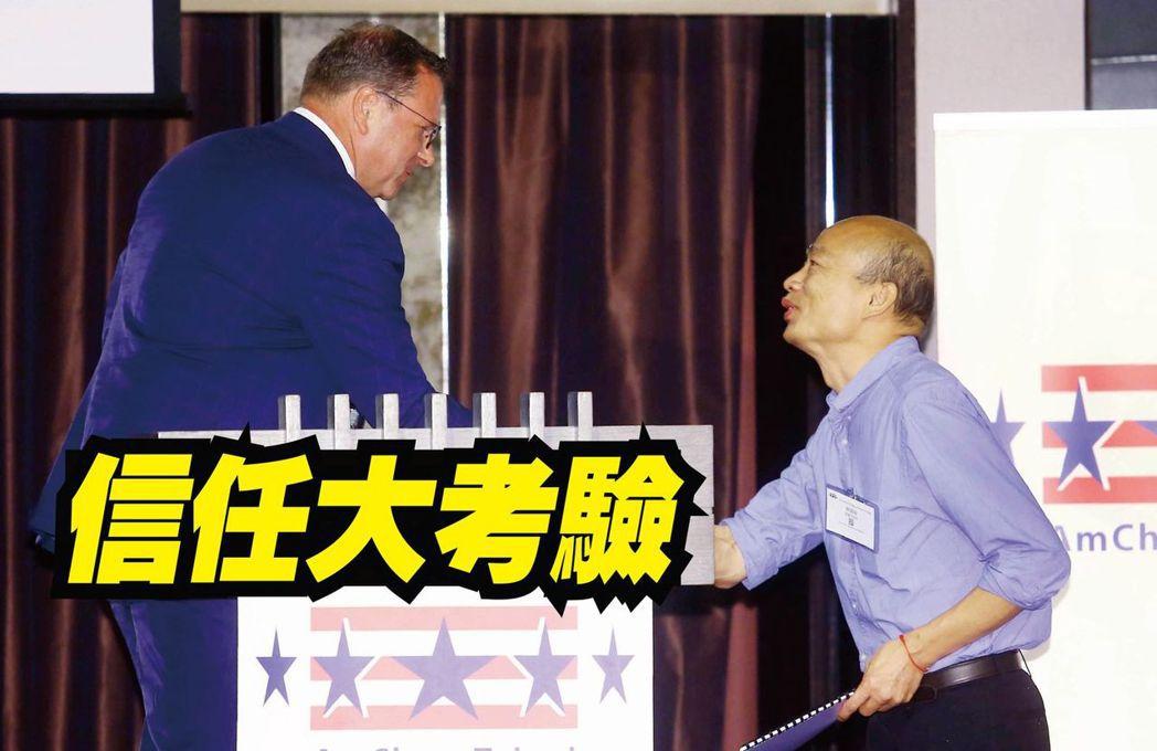 台北市美國商會昨天午餐會邀請韓國瑜(右)發表演說。美國商會執行長傅維廉(左)介紹...