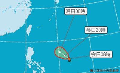 白鹿最快今成颱,侵台率高。 圖/取自中央氣象局