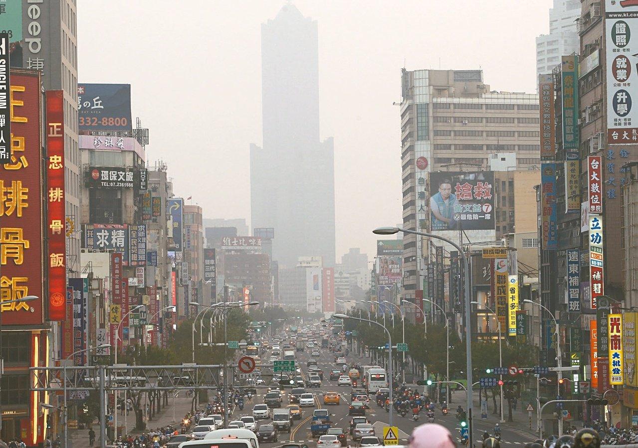 國內研究顯示空汙罹病主因之一,且高屏地區增加率比北部高。圖為高雄市區空氣品質不良...