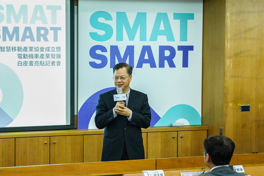 政務委員龔明鑫到場勉勵,祝賀台灣智慧移動產業協會成立。台灣智慧移動產業協會/提供