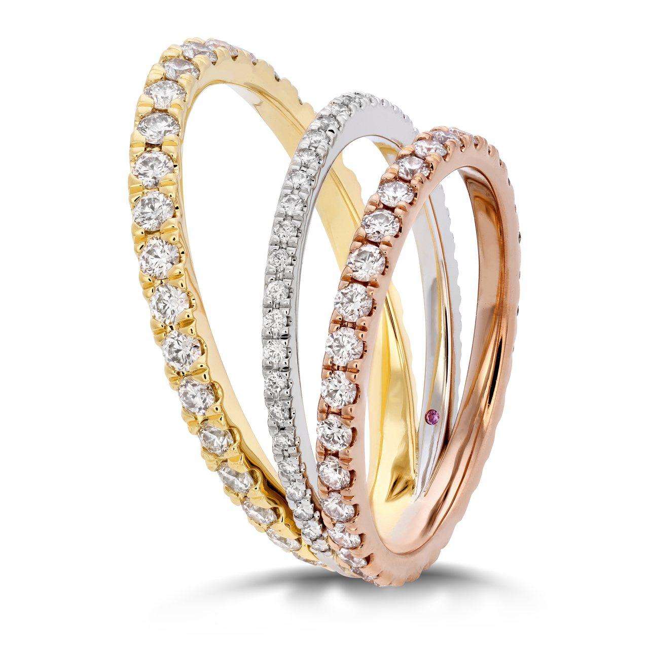 RING THE DRAMA戒指,鉑金、玫瑰金、黃 K 金鑲嵌鑽石及粉紅剛玉,2...