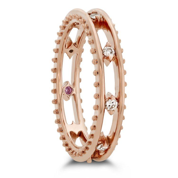 SLOANE PICOT FLOATING DIAMOND戒指,玫瑰金鑲嵌鑽石與...