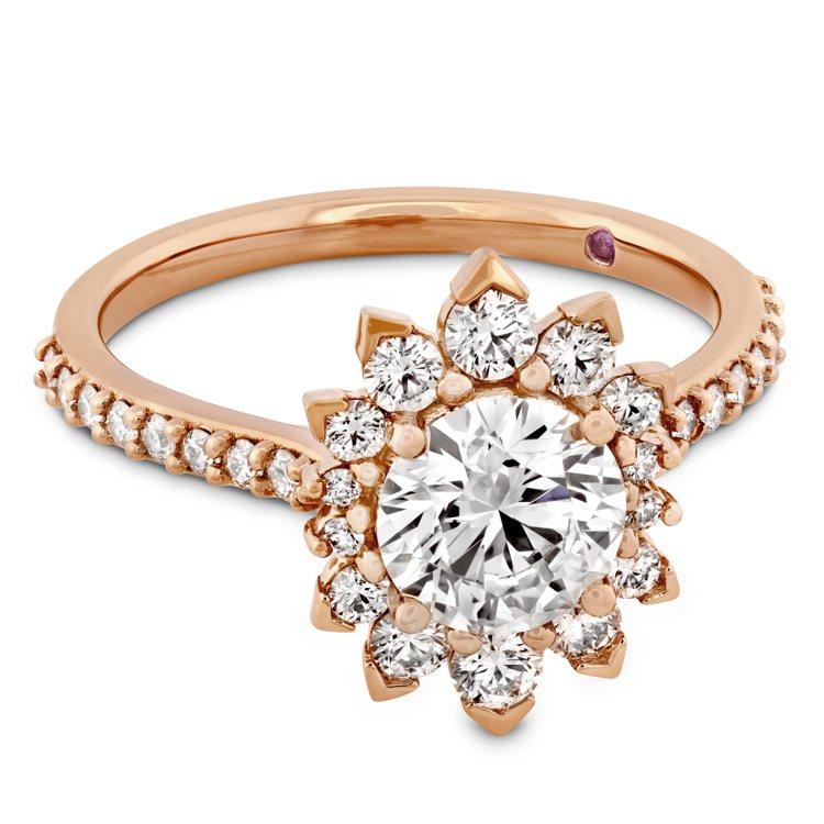 BEHATI SAY IT YOUR WAY戒指,玫瑰金鑲嵌鑽石與粉紅剛玉,主鑽...
