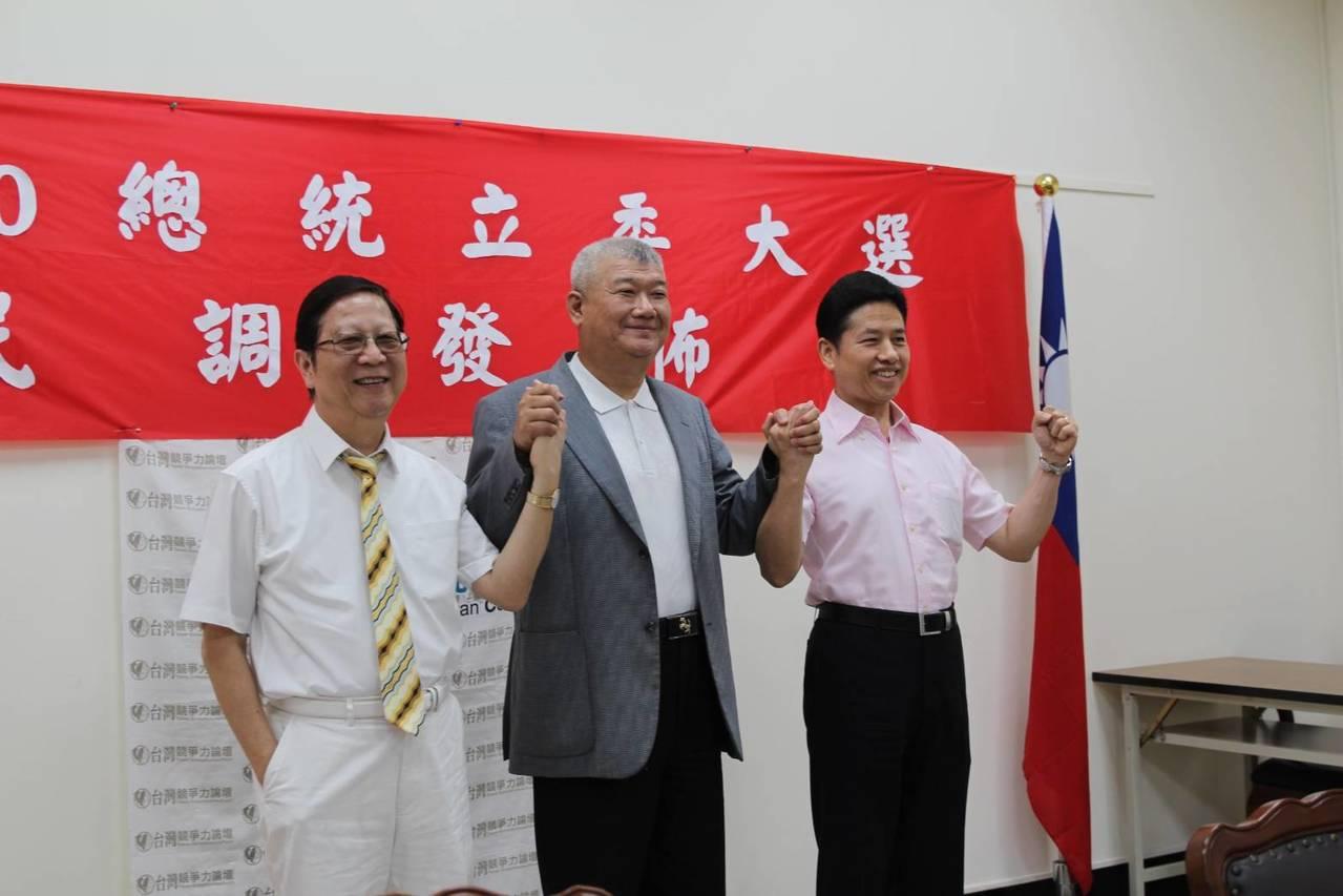 台灣競爭力論壇學會今天公布最新民調,若2020蔡韓柯三腳督,韓國瑜以32.6%支...