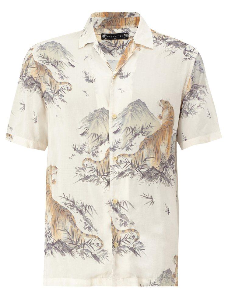 AllSaints Kayan短袖印花襯衫4,400元。圖/AllSaints提...