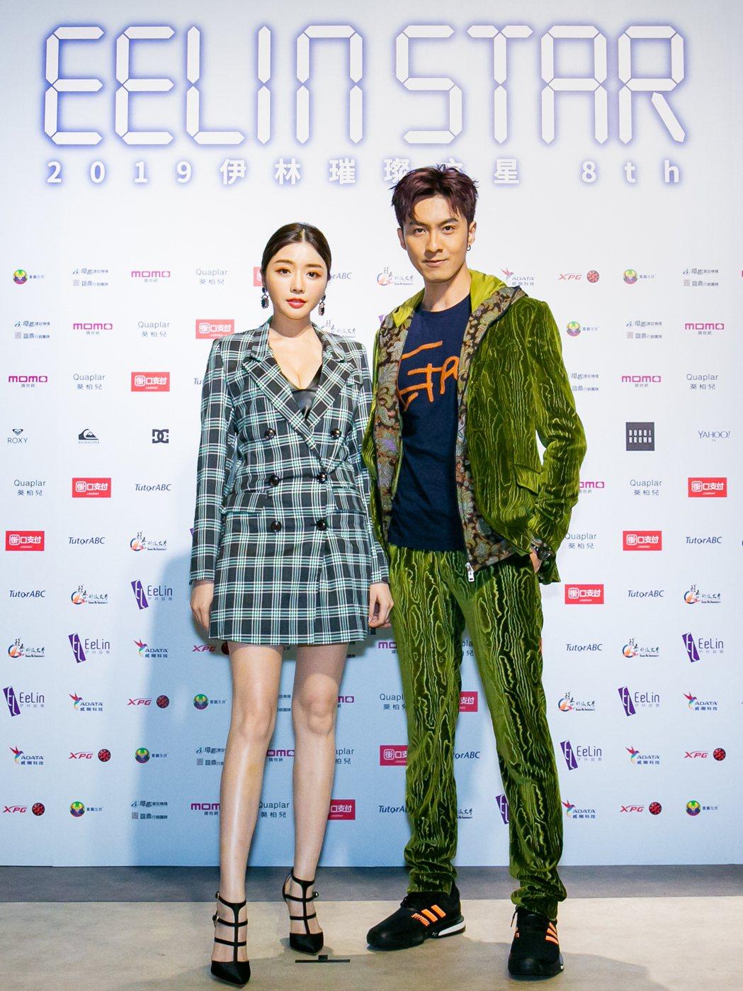 成語蕎(左)、張雁名出席「2019伊林璀璨之星總決賽」。圖/伊林娛樂提供