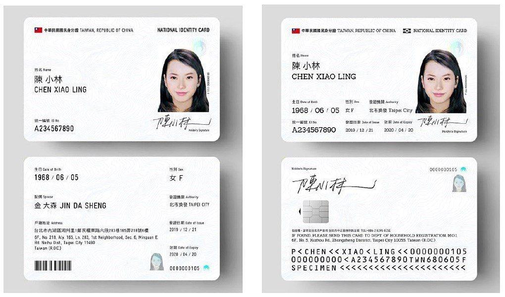 行政院長蘇貞昌已核定內政部「數位身分識別證」換發計畫,新式身分證卡面上顯示的個人...