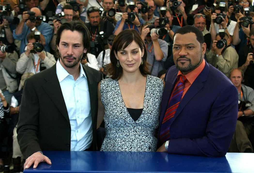 基努李維(左起)和凱莉安摩絲都要參加「駭客任務4」演出,只有勞倫斯費許朋不確定是