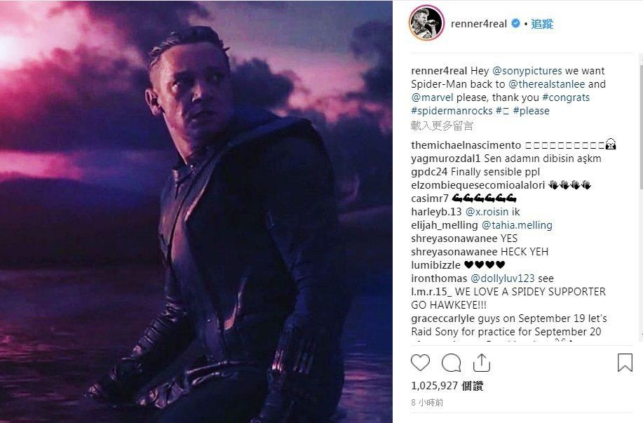 「鷹眼」傑瑞米雷納率先在社群網站上求索尼讓蜘蛛人留在漫威電影宇宙中。圖/翻攝自I...