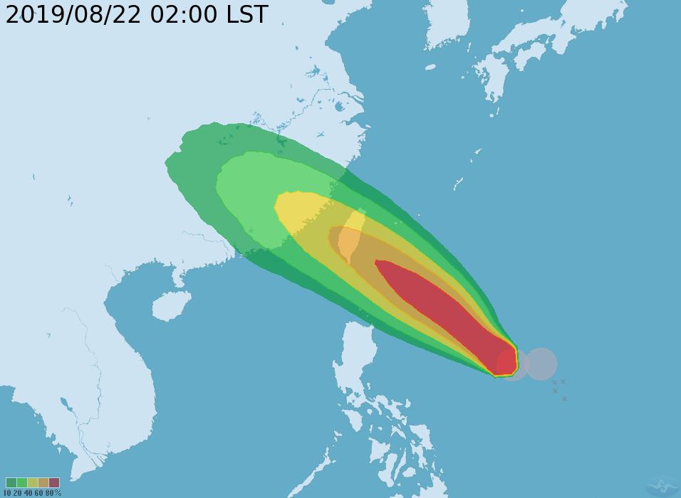 白鹿颱風暴風圈侵襲機率。圖擷自/中央氣象局