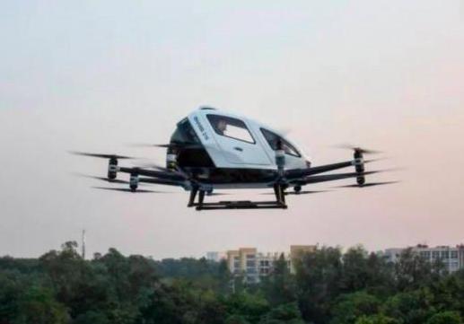廣州載人「飛的」開始試點,搭一趟的成本等同於搭計程車。 (中新網)