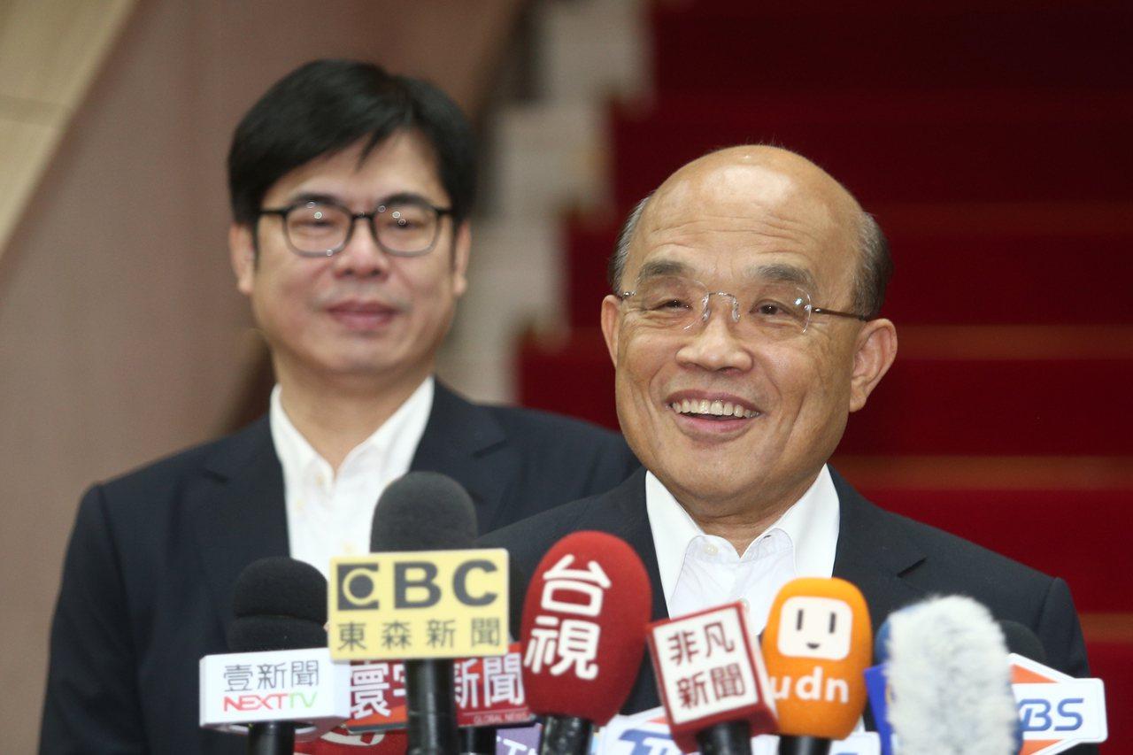 行政院院長蘇貞昌(右)。聯合報系資料照/記者蘇健忠攝影