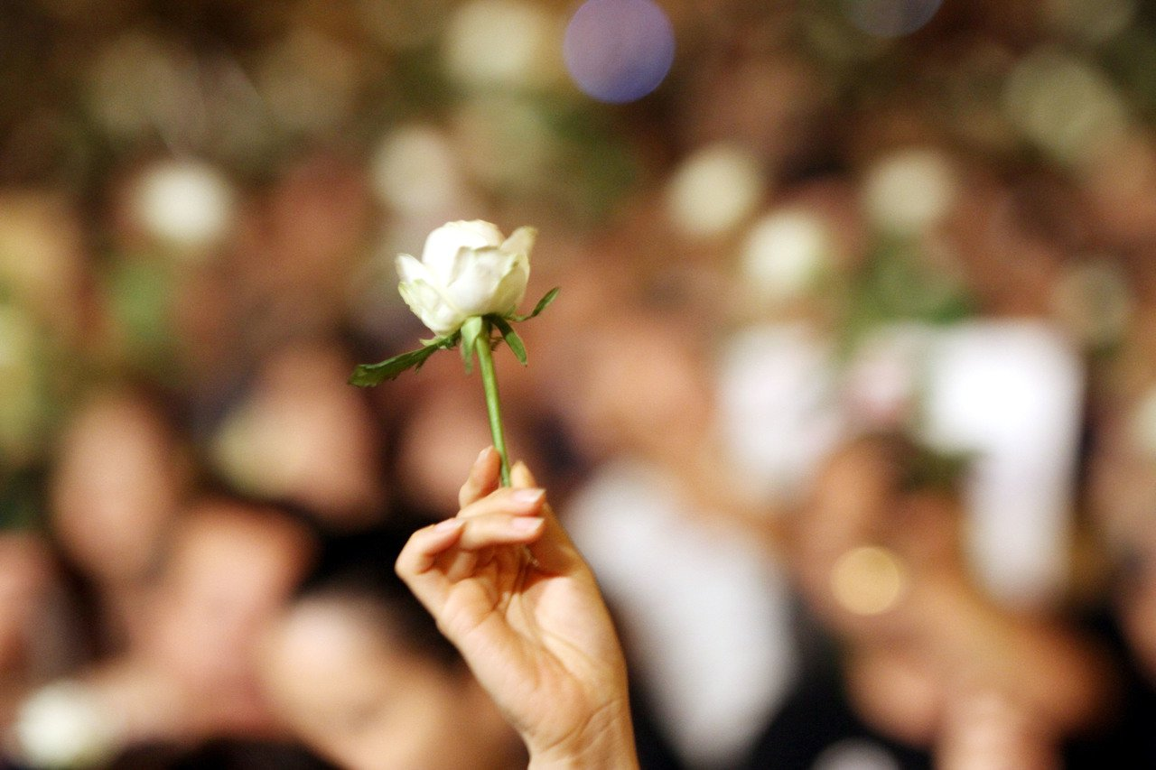 2010年9月25日,白玫瑰運動在凱達格蘭大道集會。 圖/聯合報系資料照