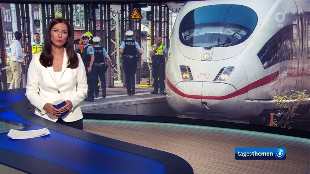 圖為命案事發當晚,《第一電視台》的晚間新聞節目《今日主題》(Tagestheme...