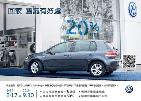 Volkswagen號召老客戶回廠 推出多項原廠零件8折優惠及免費行車安全檢查!