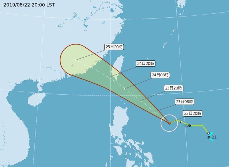 依照目前預測路徑,白鹿颱風暴風圈將在周六上午觸陸。圖/取自中央氣象局