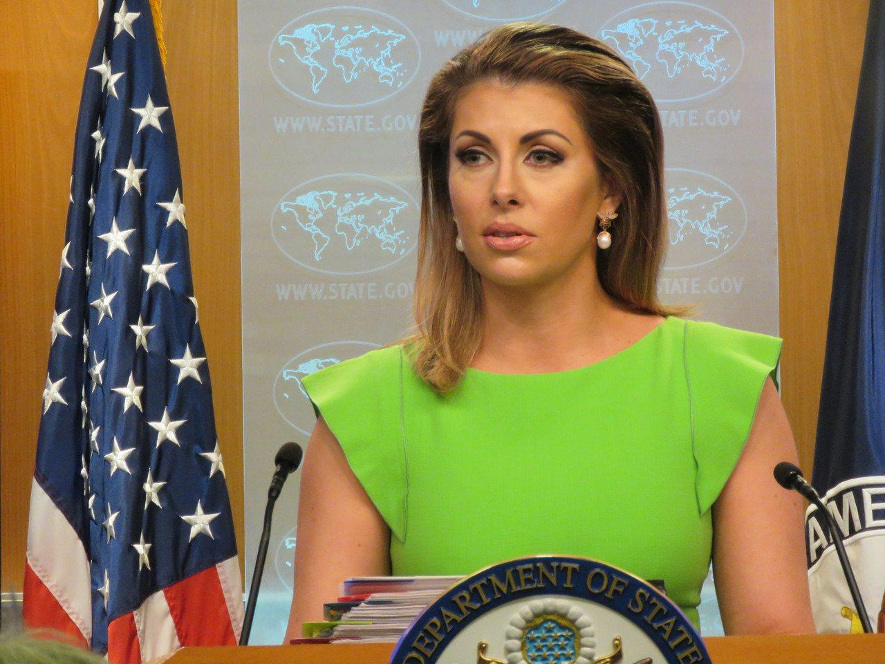 美國國務院發言人歐塔加斯。華盛頓記者張加/攝影