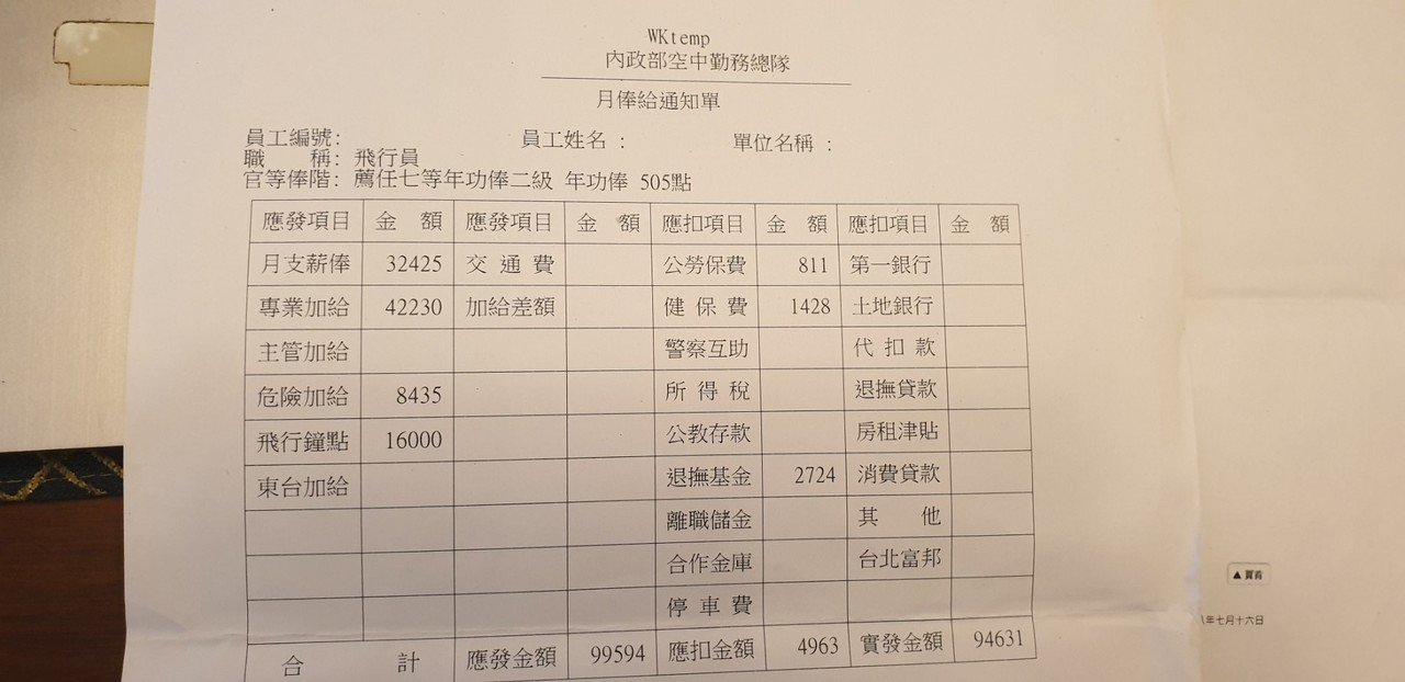 空勤總隊一名飛行教官的薪資單。圖/翻攝