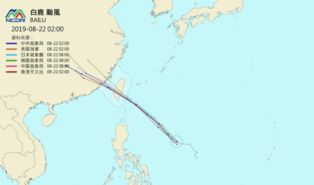 一張圖看各國路徑預報。圖/取自NCDR天氣與氣候監測網