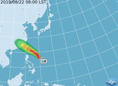 中央氣象局說,輕度颱風白鹿未來暴風半徑將增大。圖/中央氣象局提供
