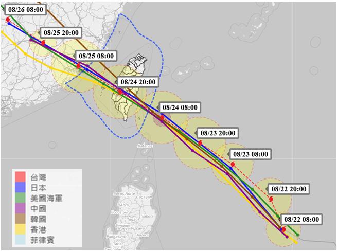 各國的白鹿颱風路徑潛勢預報。圖/取自臉書粉絲專頁「天氣職人-吳聖宇」