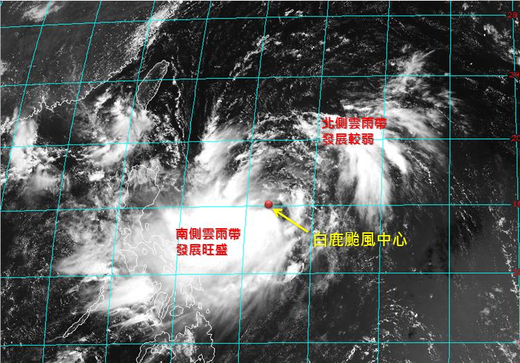 白鹿颱風結構不對稱。圖/取自臉書粉絲專頁「天氣職人-吳聖宇」