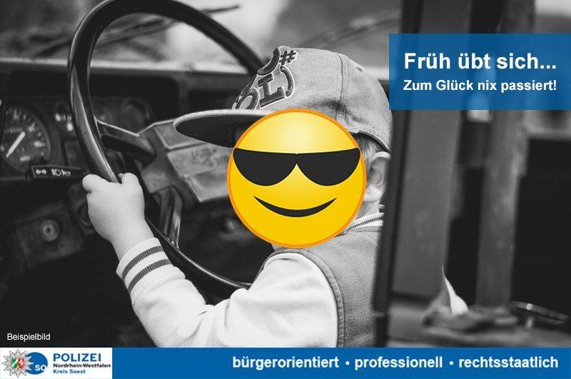 德國8歲男童偷開車,還飆到時速140公里,但身體受不了。德國Soest警察局提供