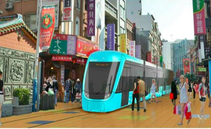 老街段輕軌不設架空線,以電池行駛,維持老街風貌。模擬圖/新北捷運局提供