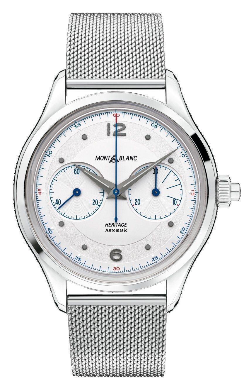 萬寶龍傳承系列單按把計時腕錶搭配精鋼米蘭帶,17萬1,200元。圖/萬寶龍提供