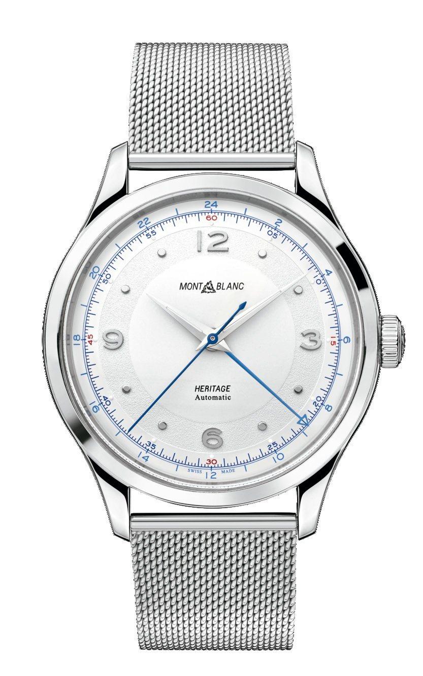 萬寶龍傳承系列GMT兩地時間腕錶搭配精鋼米蘭帶,10萬1,300元。圖/萬寶龍提...