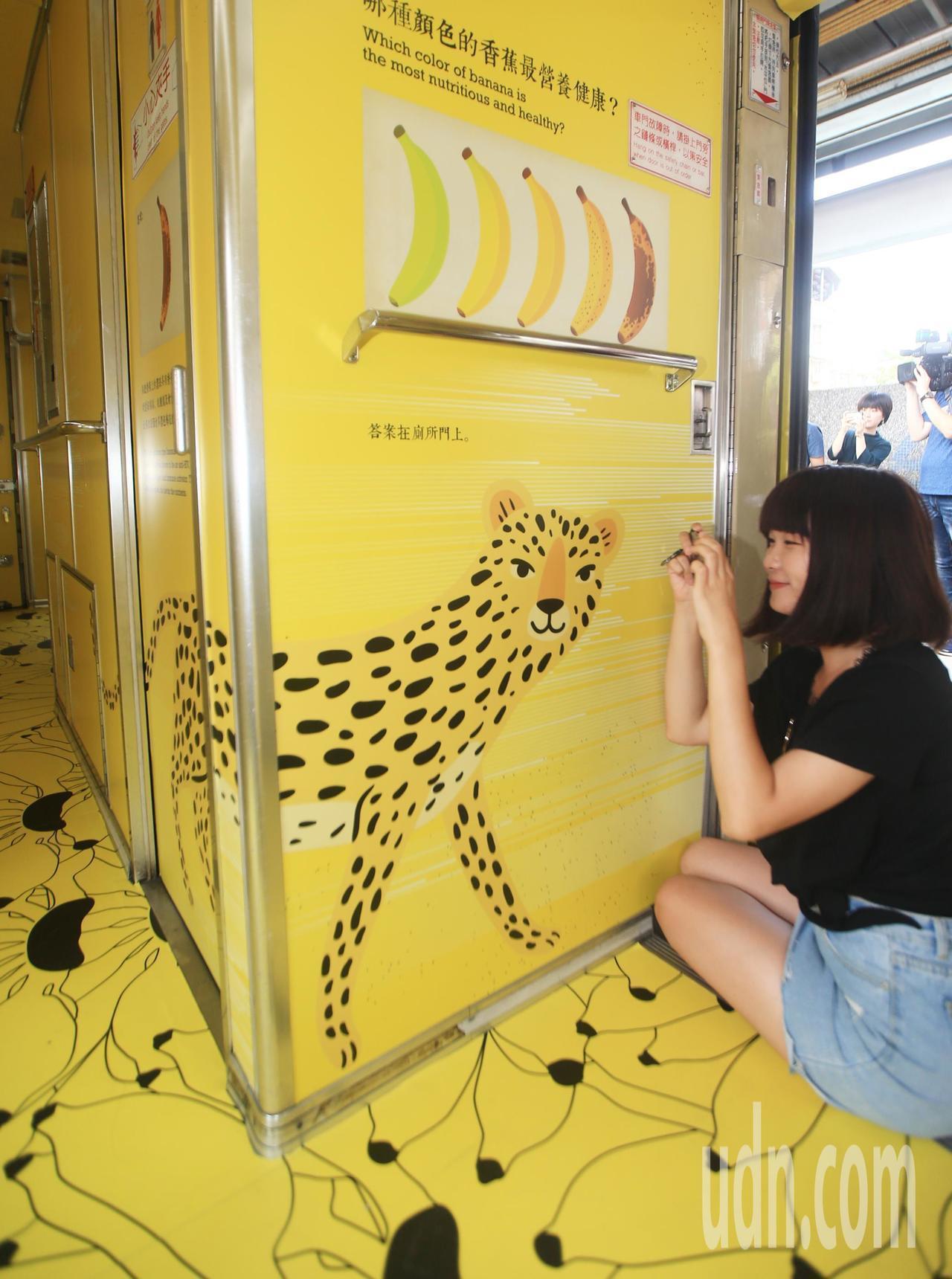 「國立集集美術館」彩繪列車上的石虎缺少重要特徵,被說像花豹。記者陳正興/攝影