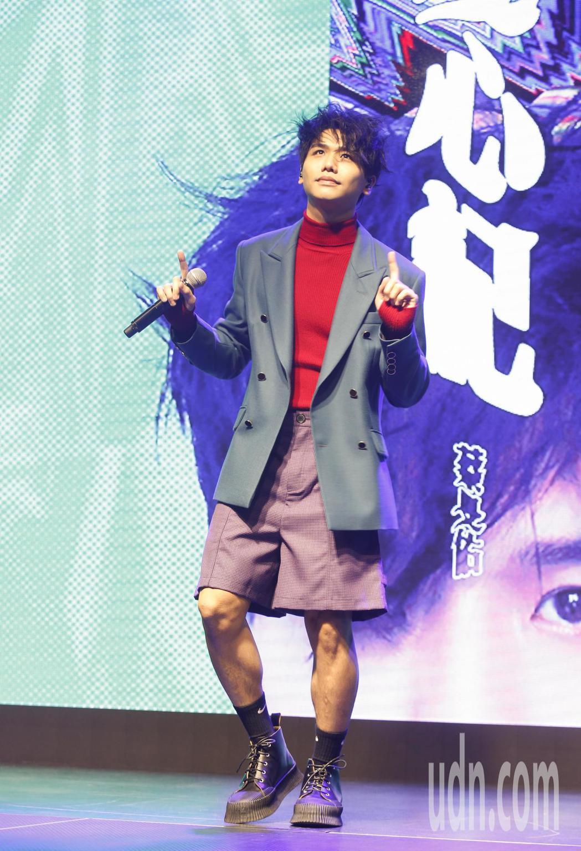 歌手蔡旻佑加盟何樂音樂後發行的第一張作品《變心記》下午舉發片記者會。記者鄭超文/...