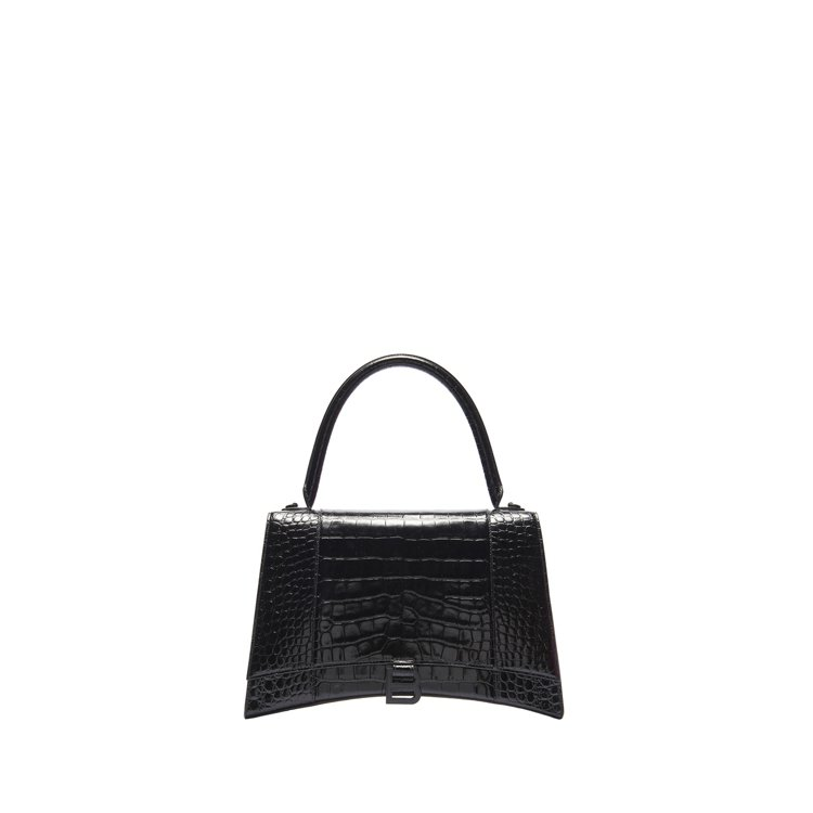 Hourglass Top Handle S小型黑色仿鱷魚紋沙漏包,56,200...