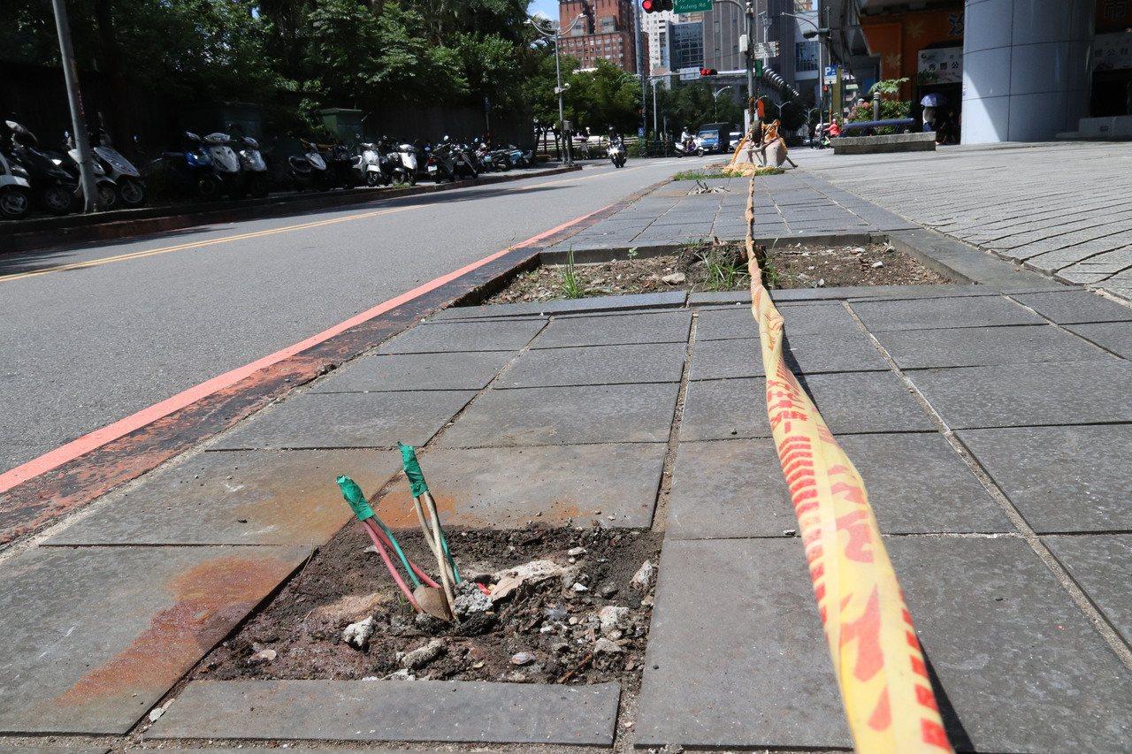汐止火車站秀峰路廣場被發現不但行道樹遭斷頭,路燈基座電線裸露在外,造成民眾行走的...